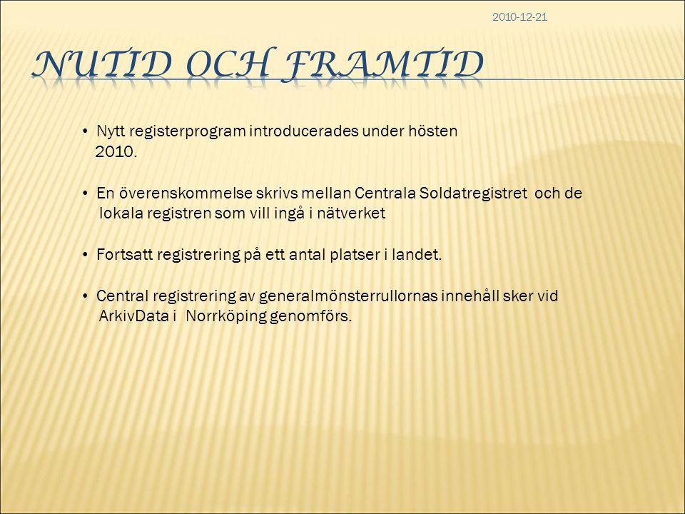 2010-12-21 • Nytt registerprogram introducerades under hösten 2010. • En överenskommelse skrivs mellan Centrala Soldatregistret och de lokala registre