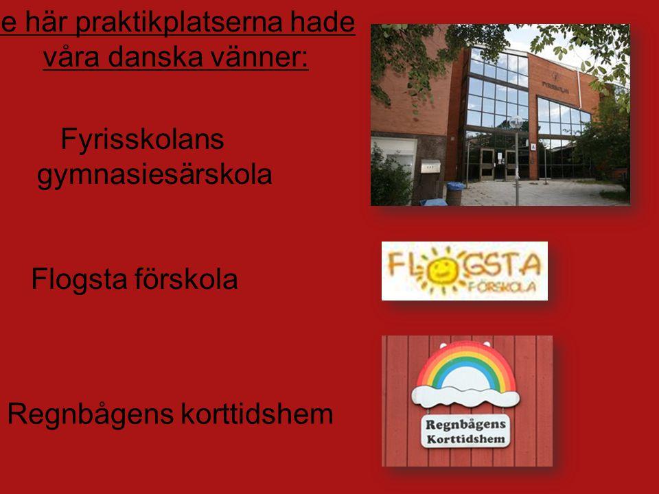 Fyrisskolans gymnasiesärskola Flogsta förskola Regnbågens korttidshem De här praktikplatserna hade våra danska vänner: