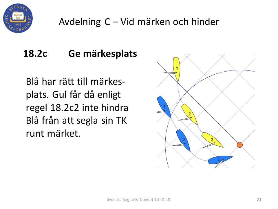 Avdelning C – Vid märken och hinder 18.2cGe märkesplats 21Svenska Seglarförbundet 13-01-01 Blå har rätt till märkes- plats. Gul får då enligt regel 18