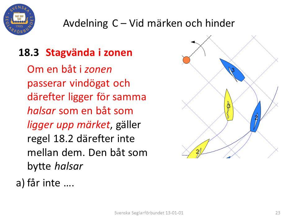 Avdelning C – Vid märken och hinder 18.3Stagvända i zonen Om en båt i zonen passerar vindögat och därefter ligger för samma halsar som en båt som ligg