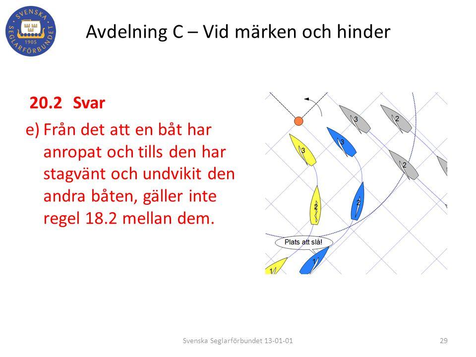 Avdelning C – Vid märken och hinder 20.2Svar e)Från det att en båt har anropat och tills den har stagvänt och undvikit den andra båten, gäller inte re