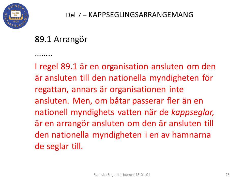 Del 7 – KAPPSEGLINGSARRANGEMANG 89.1 Arrangör …….. I regel 89.1 är en organisation ansluten om den är ansluten till den nationella myndigheten för reg