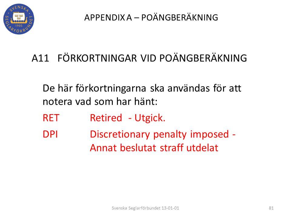 APPENDIX A – POÄNGBERÄKNING A11 FÖRKORTNINGAR VID POÄNGBERÄKNING De här förkortningarna ska användas för att notera vad som har hänt: RET Retired - Ut
