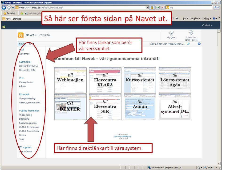 Här finns direktlänkar till våra system. Här finns länkar som berör vår verksamhet Så här ser första sidan på Navet ut.