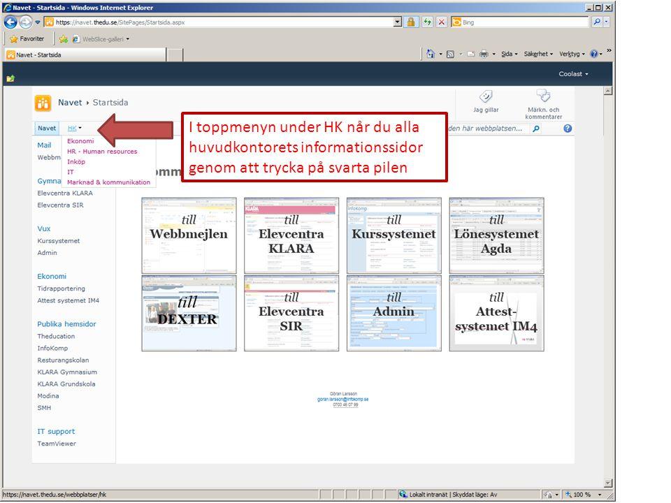 Om du klickar direkt på HK kommer du till huvudkontorets informationssida.