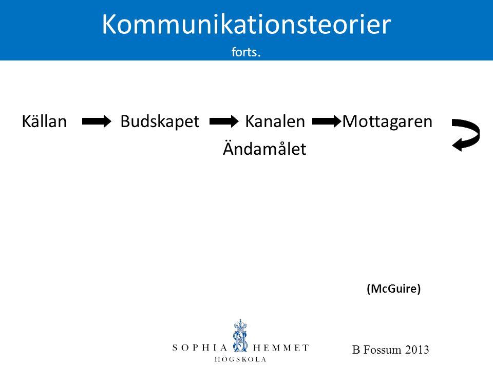 Kommunikationsteorier forts. Källan Budskapet Kanalen Mottagaren Ändamålet (McGuire) B Fossum 2013