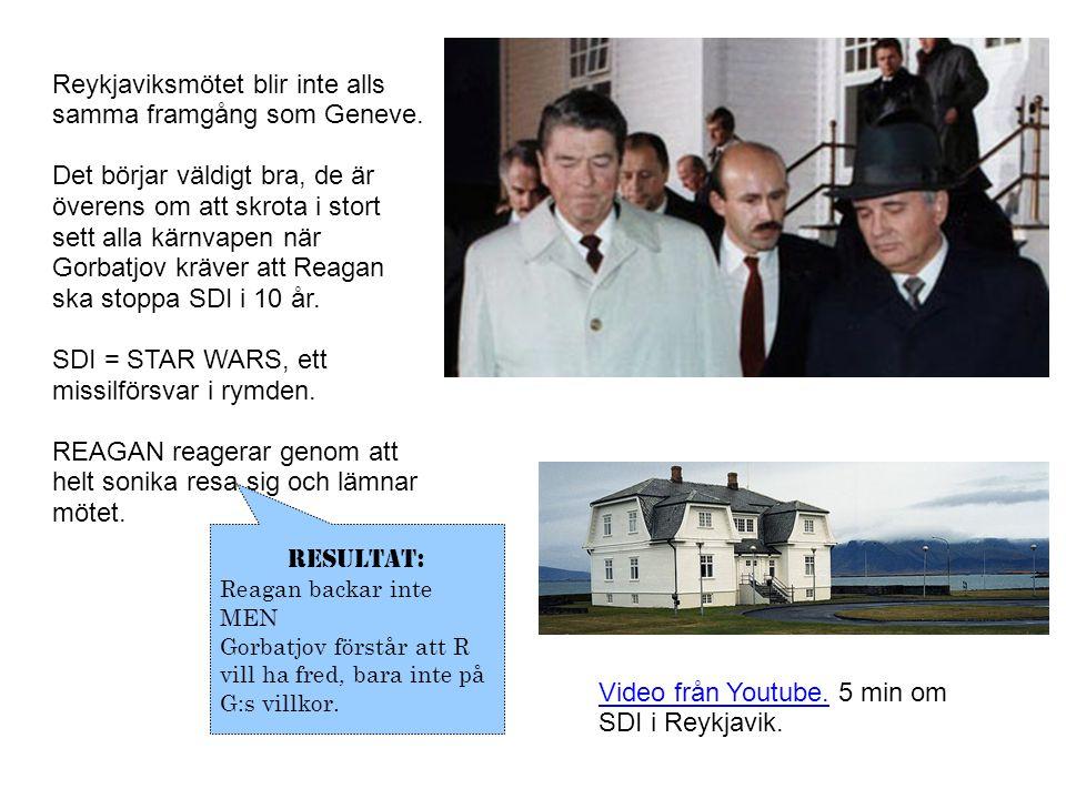 Reykjaviksmötet blir inte alls samma framgång som Geneve. Det börjar väldigt bra, de är överens om att skrota i stort sett alla kärnvapen när Gorbatjo