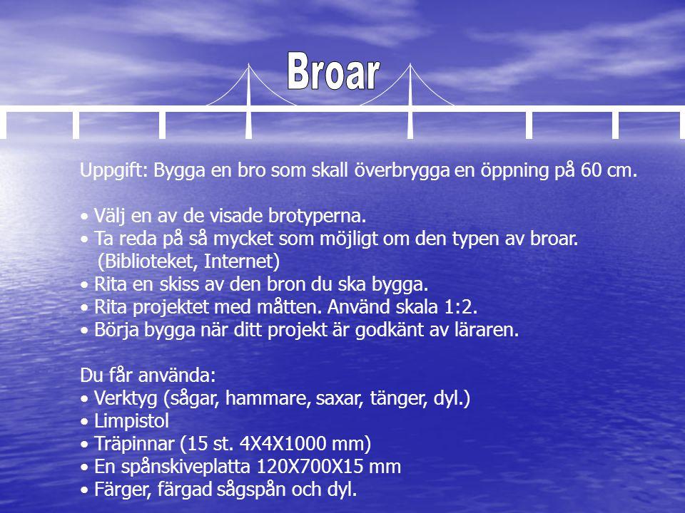 Uppgift: Bygga en bro som skall överbrygga en öppning på 60 cm. • Välj en av de visade brotyperna. • Ta reda på så mycket som möjligt om den typen av