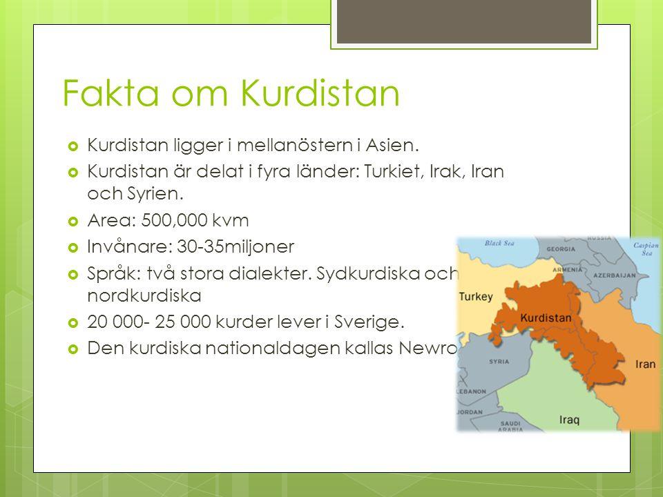 Fakta om Kurdistan  Kurdistan ligger i mellanöstern i Asien.  Kurdistan är delat i fyra länder: Turkiet, Irak, Iran och Syrien.  Area: 500,000 kvm