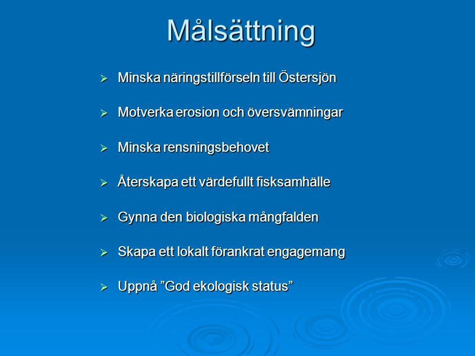 Målsättning  Minska näringstillförseln till Östersjön  Motverka erosion och översvämningar  Minska rensningsbehovet  Återskapa ett värdefullt fisk