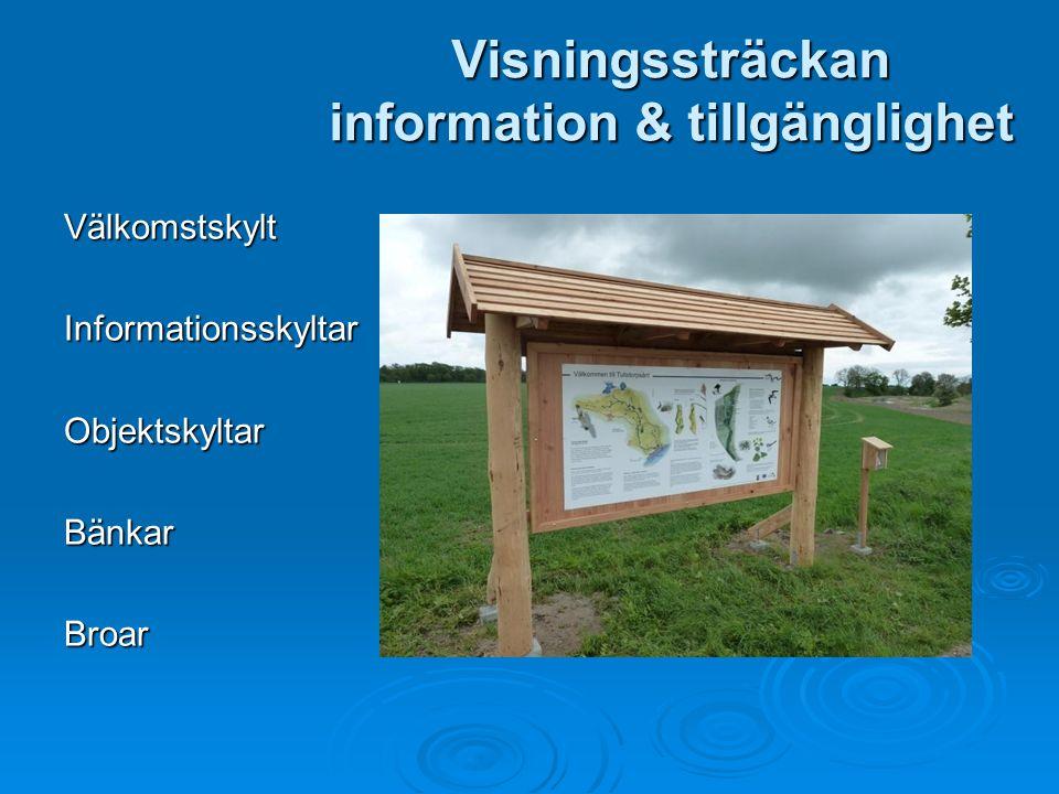 Visningssträckan information & tillgänglighet VälkomstskyltInformationsskyltarObjektskyltarBänkarBroar