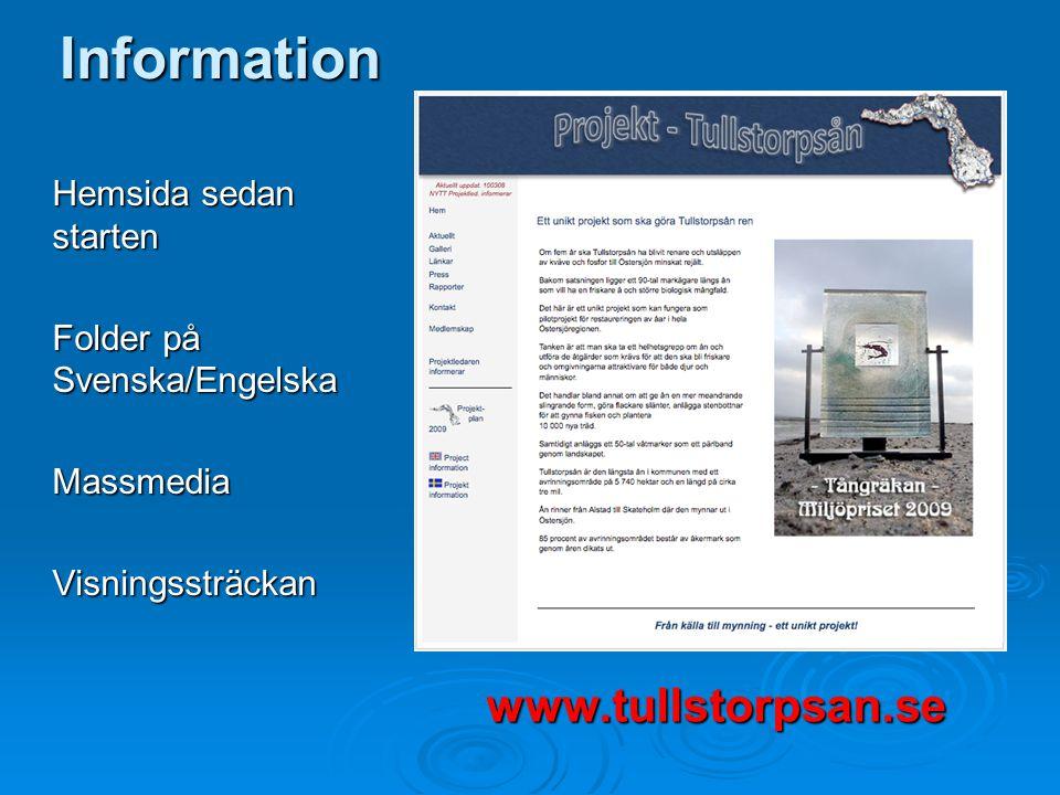Information Hemsida sedan starten Folder på Svenska/Engelska MassmediaVisningssträckan www.tullstorpsan.se
