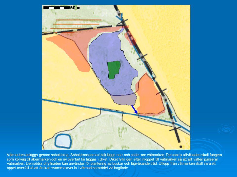Våtmarken anläggs genom schaktning. Schaktmassorna (röd) läggs norr och söder om våtmarken. Den norra utfyllnaden skall fungera som körväg till åkerma