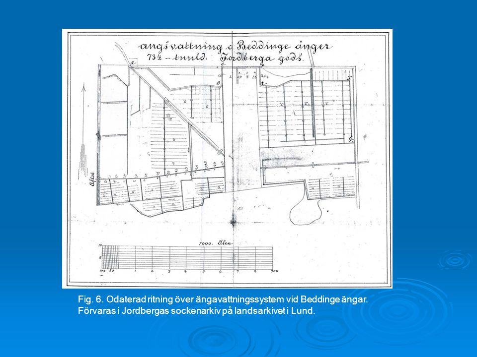 Fig. 6. Odaterad ritning över ängavattningssystem vid Beddinge ängar. Förvaras i Jordbergas sockenarkiv på landsarkivet i Lund.