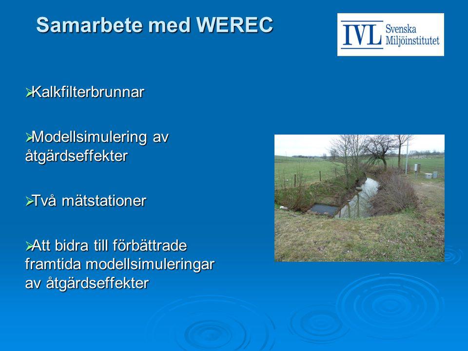 Samarbete med WEREC  Kalkfilterbrunnar  Modellsimulering av åtgärdseffekter  Två mätstationer  Att bidra till förbättrade framtida modellsimulerin