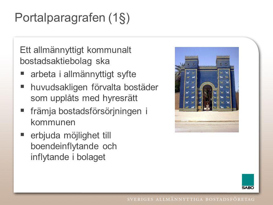 Portalparagrafen (1§) Ett allmännyttigt kommunalt bostadsaktiebolag ska  arbeta i allmännyttigt syfte  huvudsakligen förvalta bostäder som upplåts m