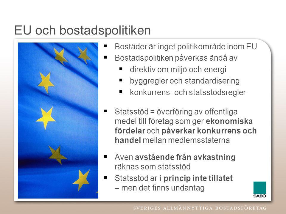 EU och bostadspolitiken  Bostäder är inget politikområde inom EU  Bostadspolitiken påverkas ändå av  direktiv om miljö och energi  byggregler och