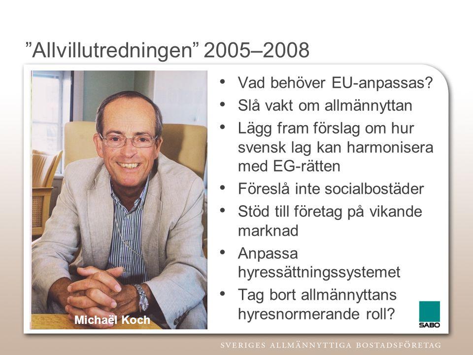 """""""Allvillutredningen"""" 2005–2008 • Vad behöver EU-anpassas? • Slå vakt om allmännyttan • Lägg fram förslag om hur svensk lag kan harmonisera med EG-rätt"""