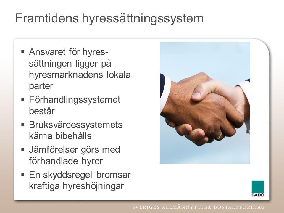 Framtidens hyressättningssystem  Ansvaret för hyres- sättningen ligger på hyresmarknadens lokala parter  Förhandlingssystemet består  Bruksvärdessy