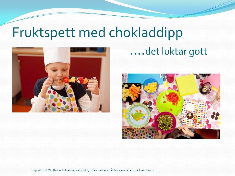 Fruktspett med chokladdipp …. det luktar gott Copyright © Ulrica Johansson Lustfyllda mellanmål för cancersjuka barn 2011