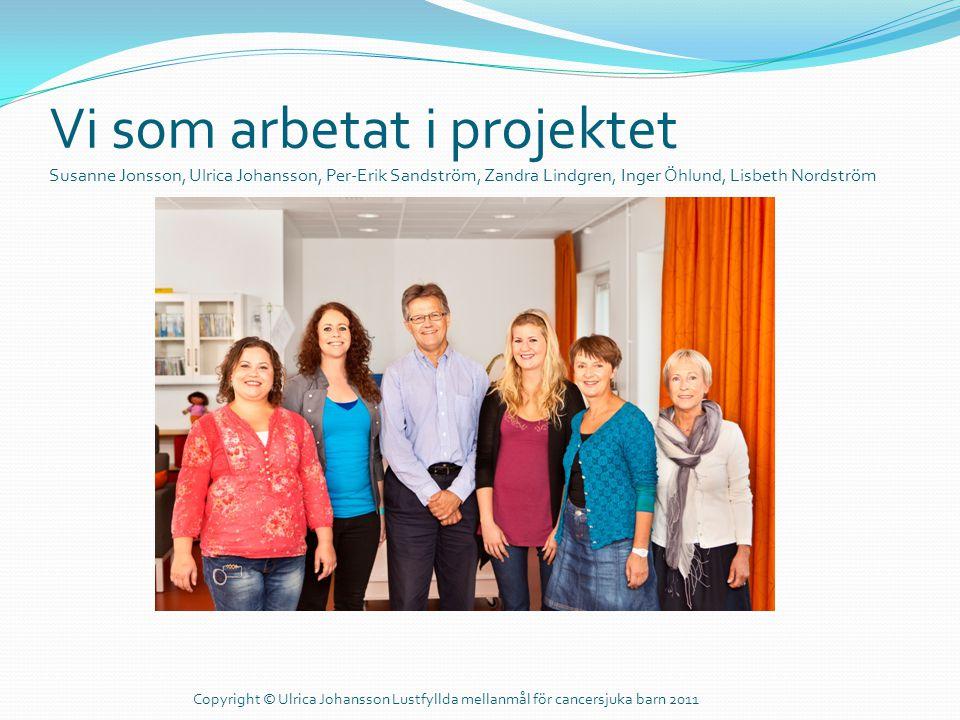 Vi som arbetat i projektet Susanne Jonsson, Ulrica Johansson, Per-Erik Sandström, Zandra Lindgren, Inger Öhlund, Lisbeth Nordström Copyright © Ulrica