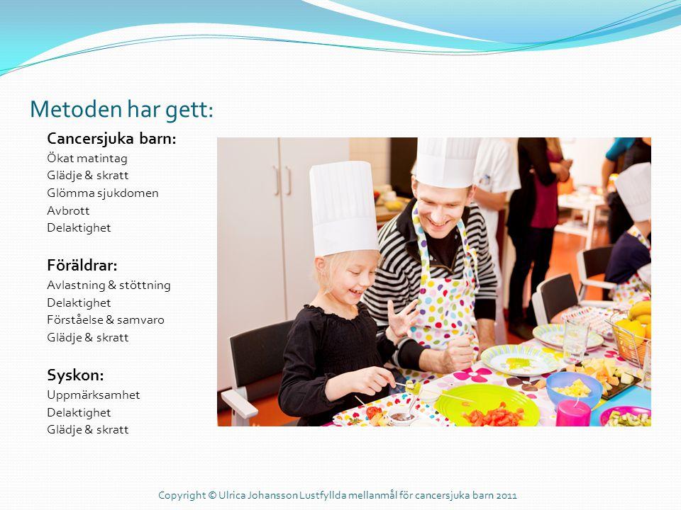 Metoden har gett: Cancersjuka barn: Ökat matintag Glädje & skratt Glömma sjukdomen Avbrott Delaktighet Föräldrar: Avlastning & stöttning Delaktighet F