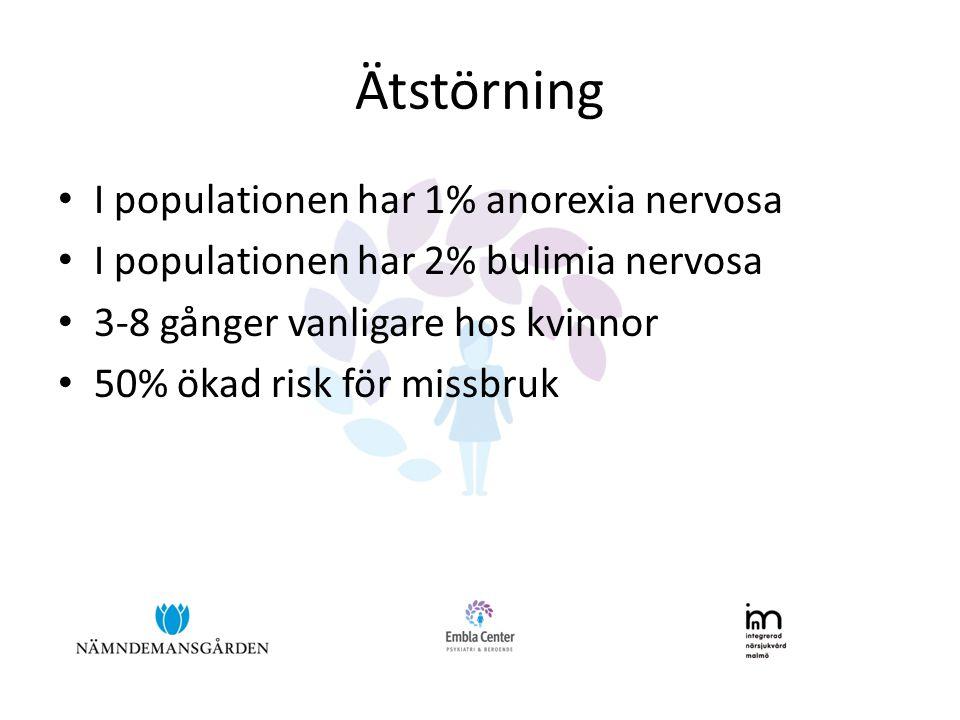 Ätstörning • I populationen har 1% anorexia nervosa • I populationen har 2% bulimia nervosa • 3-8 gånger vanligare hos kvinnor • 50% ökad risk för mis
