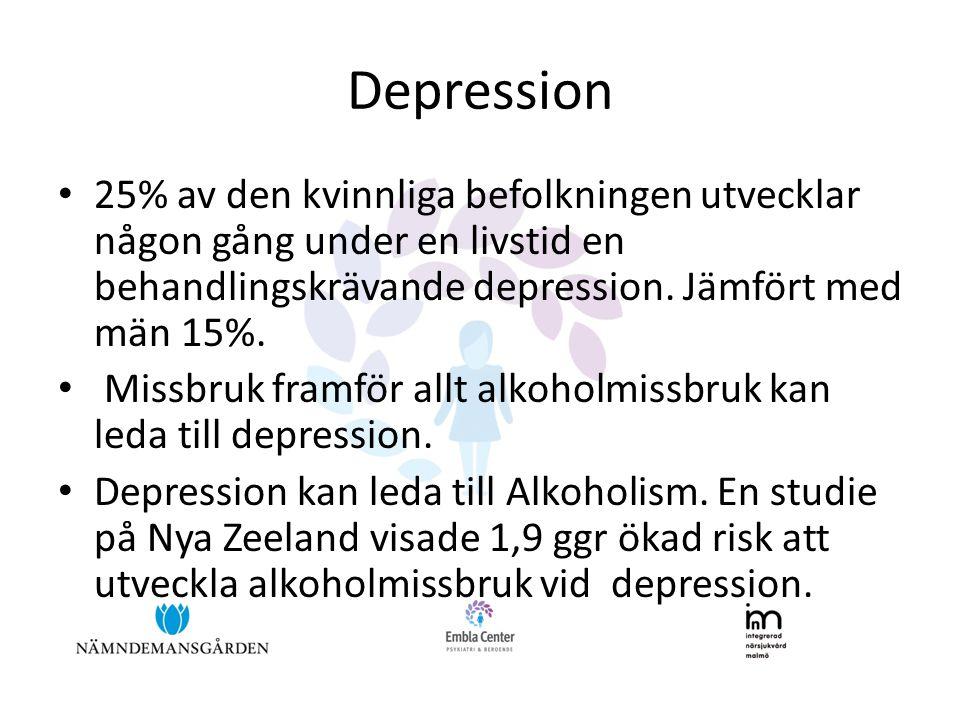 Depression • 25% av den kvinnliga befolkningen utvecklar någon gång under en livstid en behandlingskrävande depression. Jämfört med män 15%. • Missbru