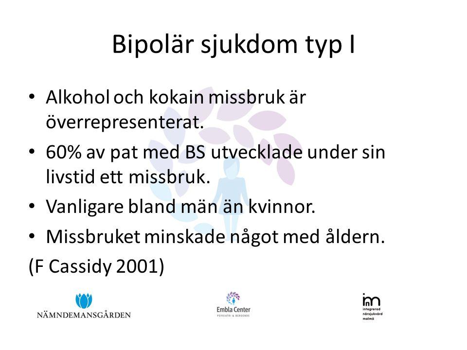 Bipolär sjukdom typ I • Alkohol och kokain missbruk är överrepresenterat. • 60% av pat med BS utvecklade under sin livstid ett missbruk. • Vanligare b