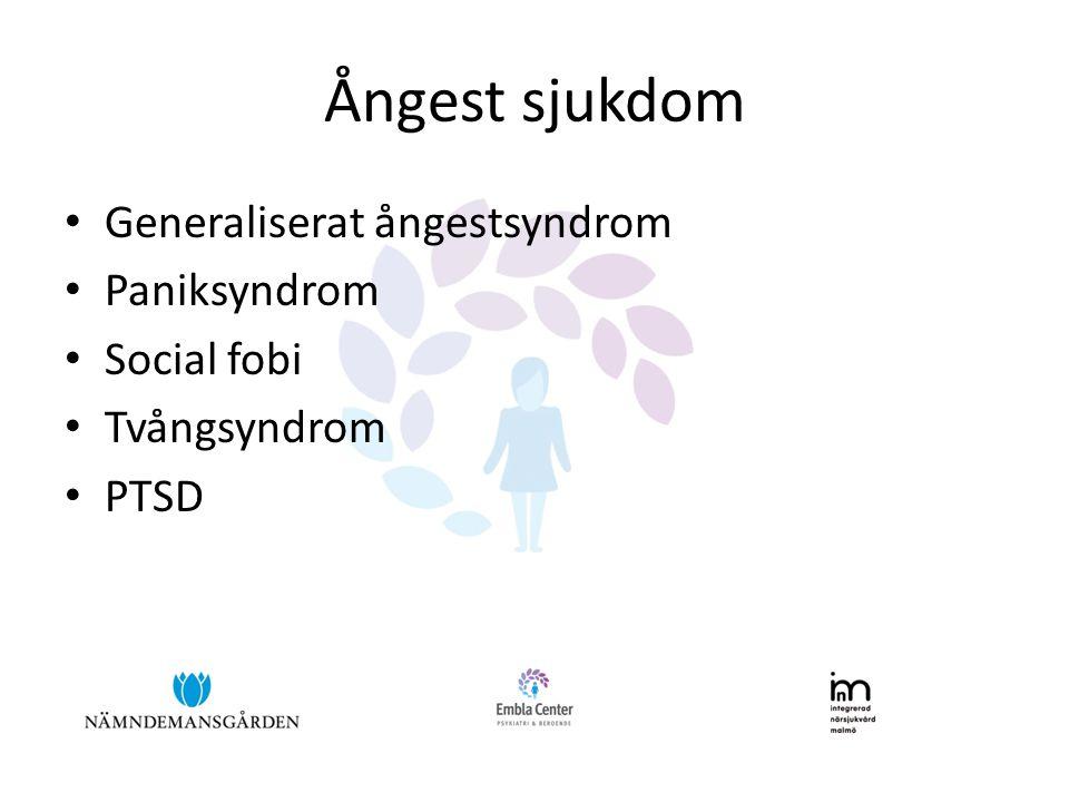 Ångest sjukdom • Generaliserat ångestsyndrom • Paniksyndrom • Social fobi • Tvångsyndrom • PTSD