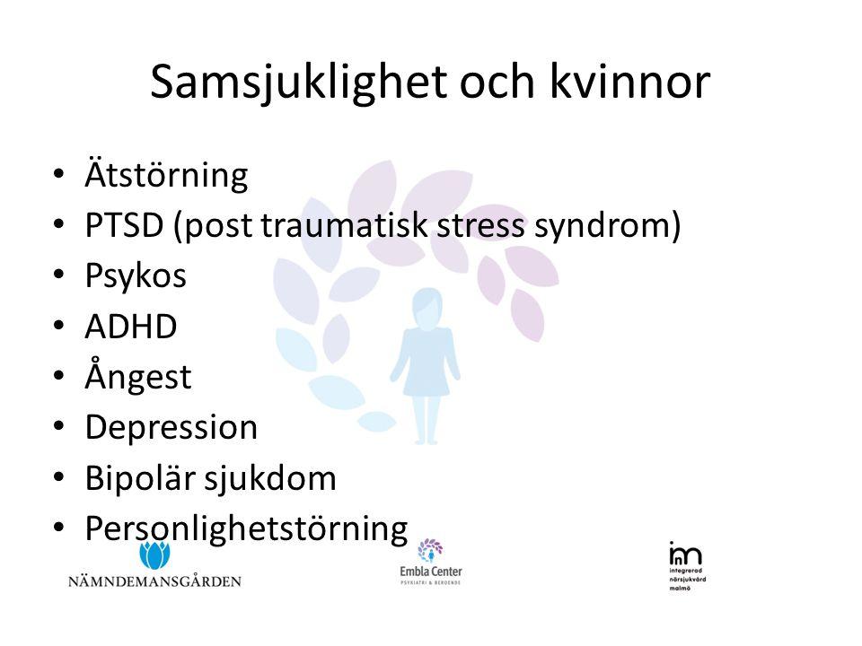 Samsjuklighet och kvinnor • Ätstörning • PTSD (post traumatisk stress syndrom) • Psykos • ADHD • Ångest • Depression • Bipolär sjukdom • Personlighetstörning