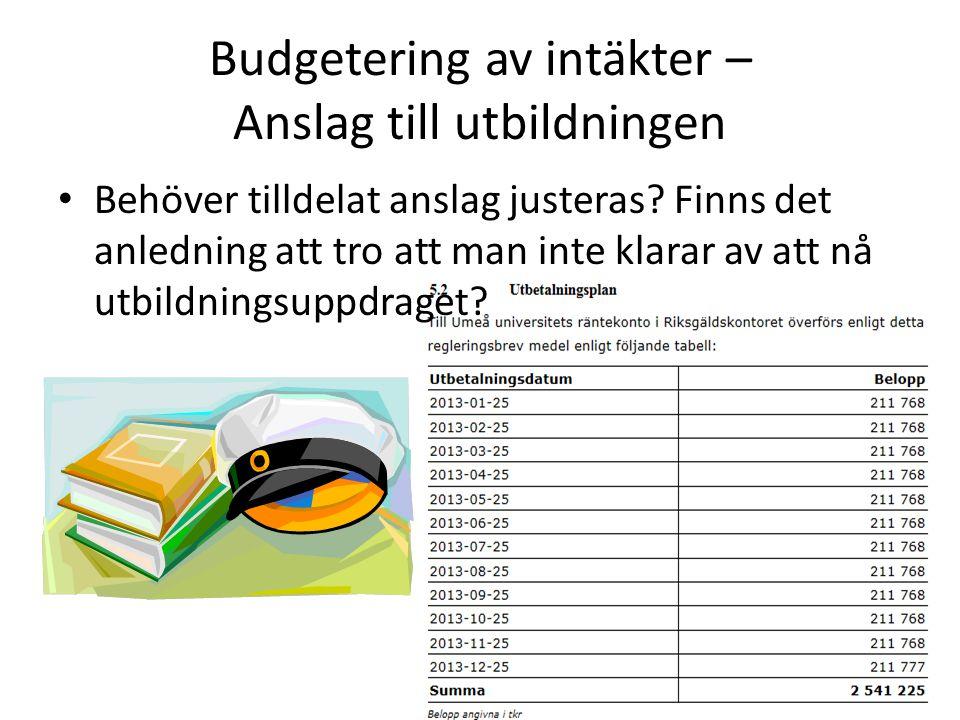 Budgetering av intäkter – Anslag till utbildningen • Behöver tilldelat anslag justeras? Finns det anledning att tro att man inte klarar av att nå utbi