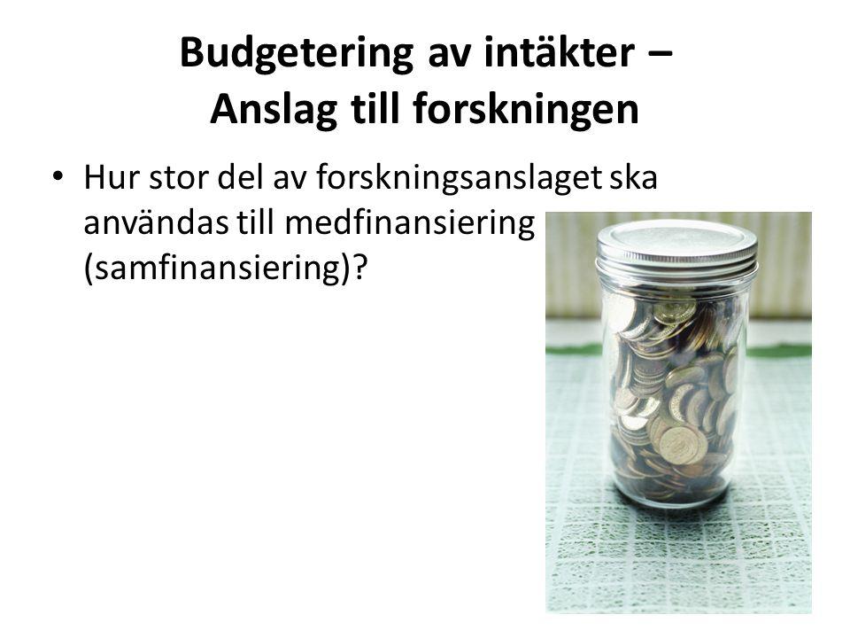 Budgetering av intäkter – Anslag till forskningen • Hur stor del av forskningsanslaget ska användas till medfinansiering (samfinansiering)?