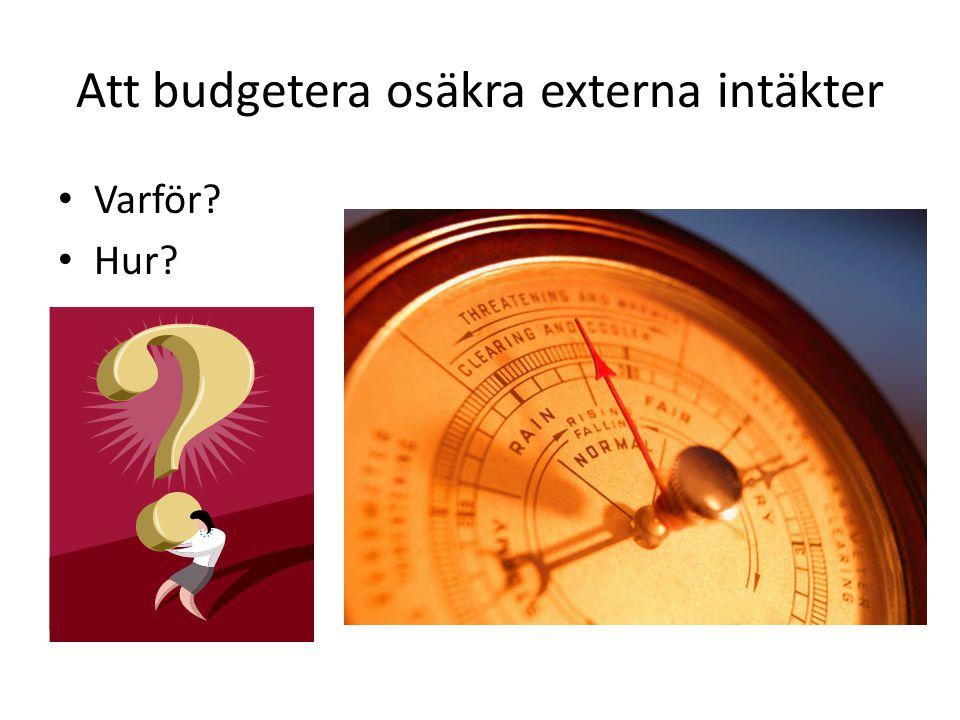 Att budgetera osäkra externa intäkter • Varför? • Hur?