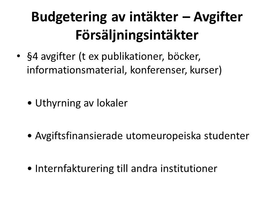 Budgetering av intäkter – Avgifter Försäljningsintäkter • §4 avgifter (t ex publikationer, böcker, informationsmaterial, konferenser, kurser) • Uthyrn