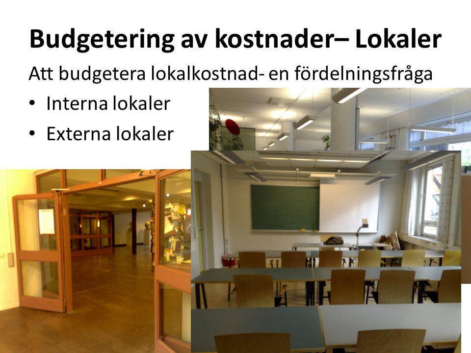 Budgetering av kostnader– Lokaler Att budgetera lokalkostnad- en fördelningsfråga • Interna lokaler • Externa lokaler