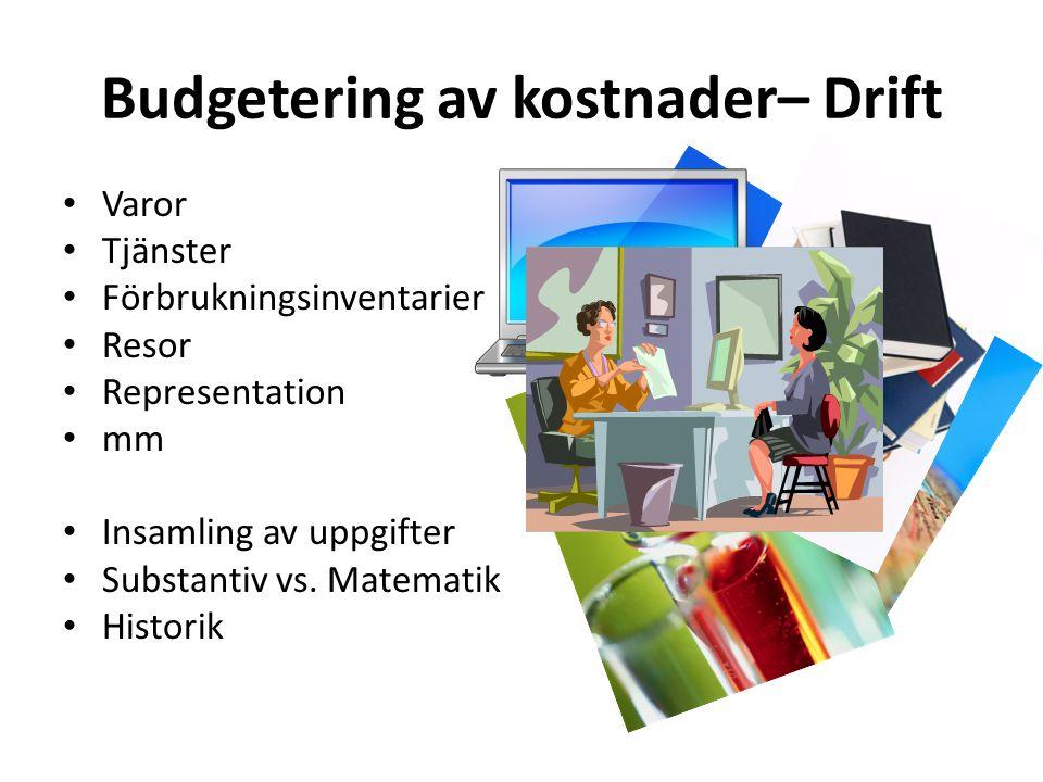 Budgetering av kostnader– Drift • Varor • Tjänster • Förbrukningsinventarier • Resor • Representation • mm • Insamling av uppgifter • Substantiv vs. M
