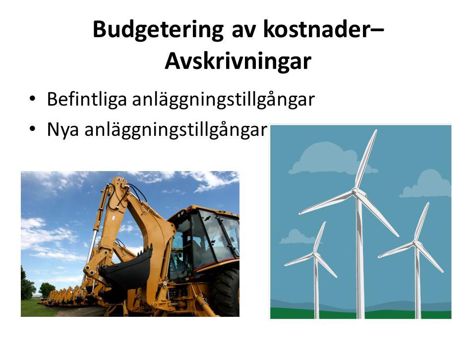 Budgetering av kostnader– Avskrivningar • Befintliga anläggningstillgångar • Nya anläggningstillgångar