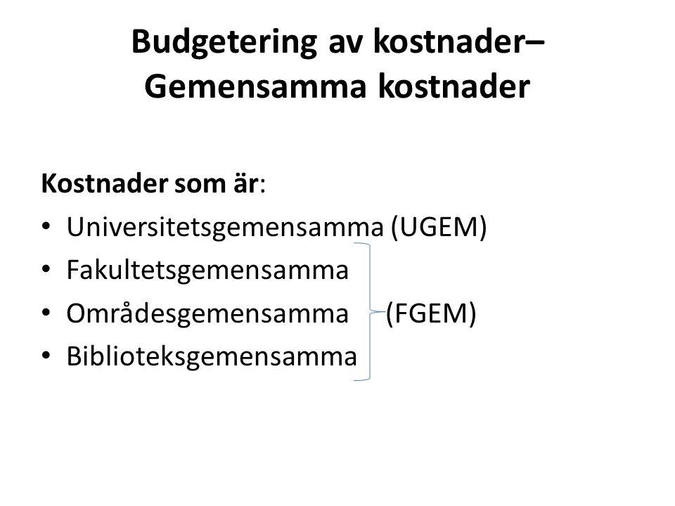 Budgetering av kostnader– Gemensamma kostnader Kostnader som är: • Universitetsgemensamma (UGEM) • Fakultetsgemensamma • Områdesgemensamma (FGEM) • Bi