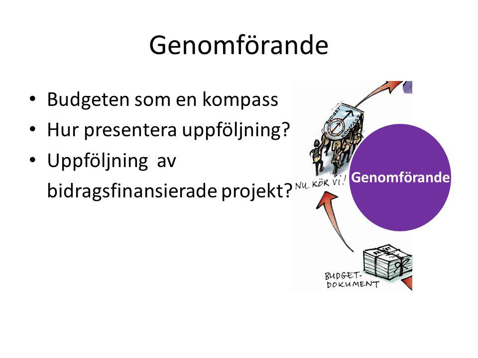 Genomförande • Budgeten som en kompass • Hur presentera uppföljning? • Uppföljning av bidragsfinansierade projekt? Genomförande