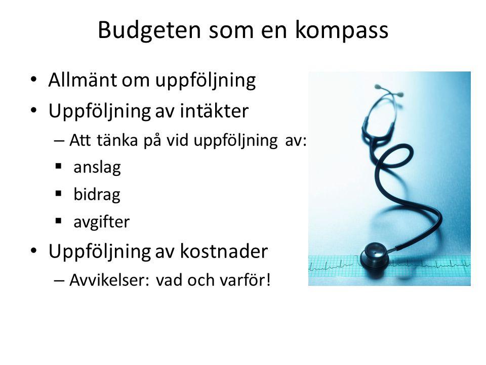Budgeten som en kompass • Allmänt om uppföljning • Uppföljning av intäkter – Att tänka på vid uppföljning av:  anslag  bidrag  avgifter • Uppföljni