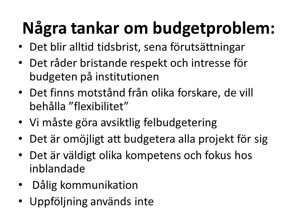 Några tankar om budgetproblem: • Det blir alltid tidsbrist, sena förutsättningar • Det råder bristande respekt och intresse för budgeten på institutio