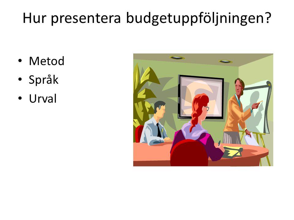 Hur presentera budgetuppföljningen? • Metod • Språk • Urval