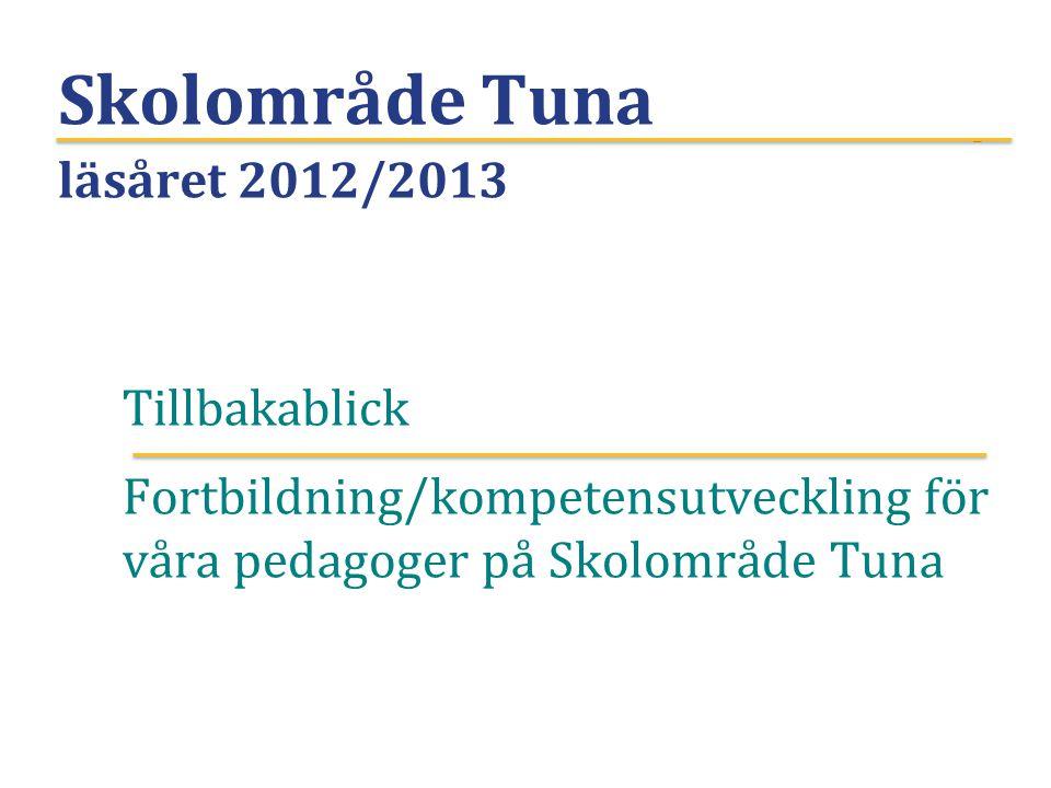 Skolområde Tuna läsåret 2012/2013 Tillbakablick Fortbildning/kompetensutveckling för våra pedagoger på Skolområde Tuna