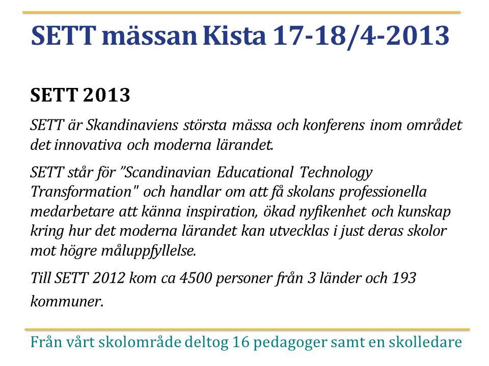 SETT mässan Kista 17-18/4-2013 SETT 2013 SETT är Skandinaviens största mässa och konferens inom området det innovativa och moderna lärandet. SETT står