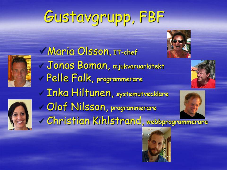 Gustavgrupp, FBF  Maria Olsson, IT-chef  Jonas Boman, mjukvaruarkitekt  Pelle Falk, programmerare  Inka Hiltunen, systemutvecklare  Olof Nilsson, programmerare  Christian Kihlstrand, webbprogrammerare