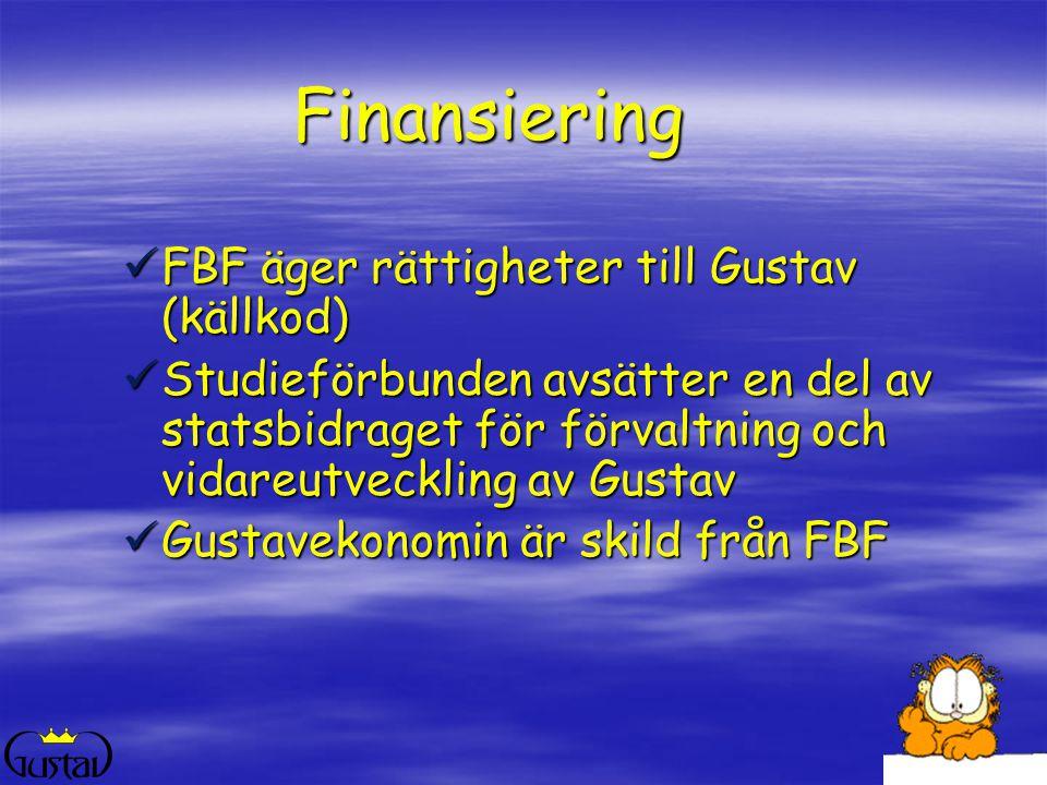 Finansiering  FBF äger rättigheter till Gustav (källkod)  Studieförbunden avsätter en del av statsbidraget för förvaltning och vidareutveckling av Gustav  Gustavekonomin är skild från FBF