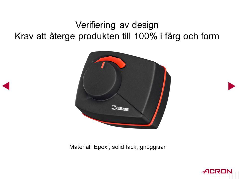 Material: Epoxi, solid lack, gnuggisar Verifiering av design Krav att återge produkten till 100% i färg och form