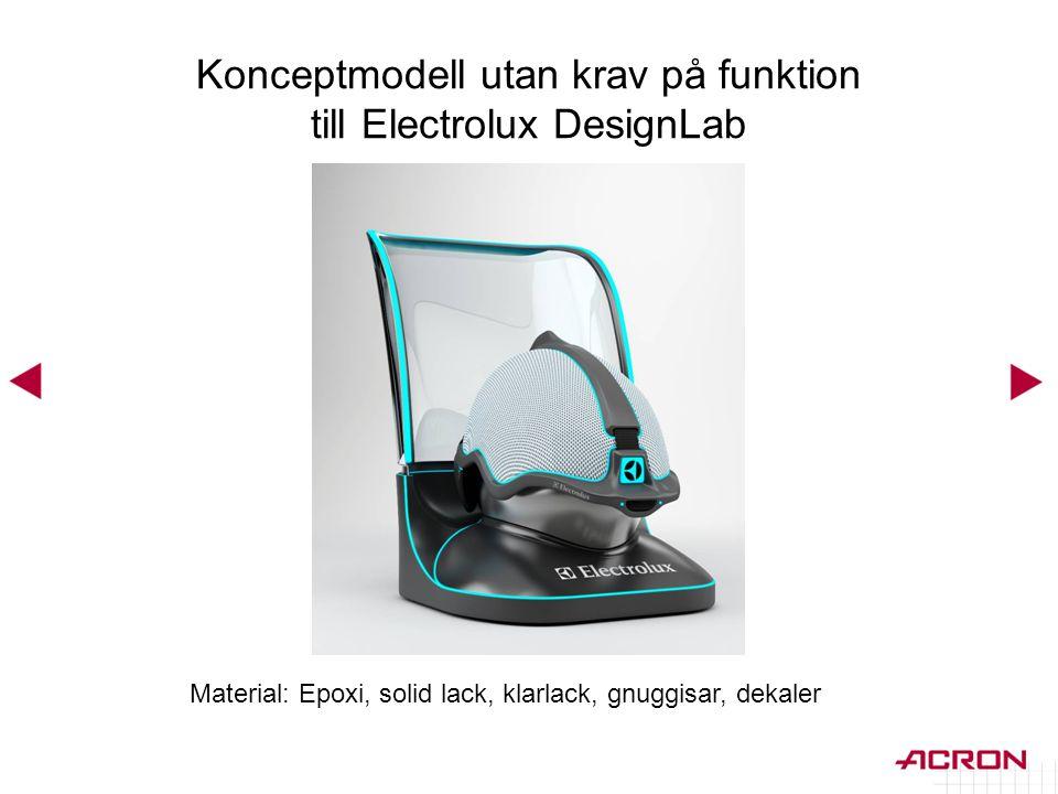 Konceptmodell utan krav på funktion till Electrolux DesignLab Material: Epoxi, solid lack, klarlack, gnuggisar, dekaler
