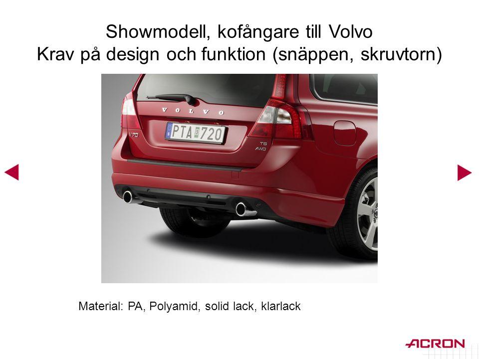 Material: PA, Polyamid, solid lack, klarlack Showmodell, kofångare till Volvo Krav på design och funktion (snäppen, skruvtorn)